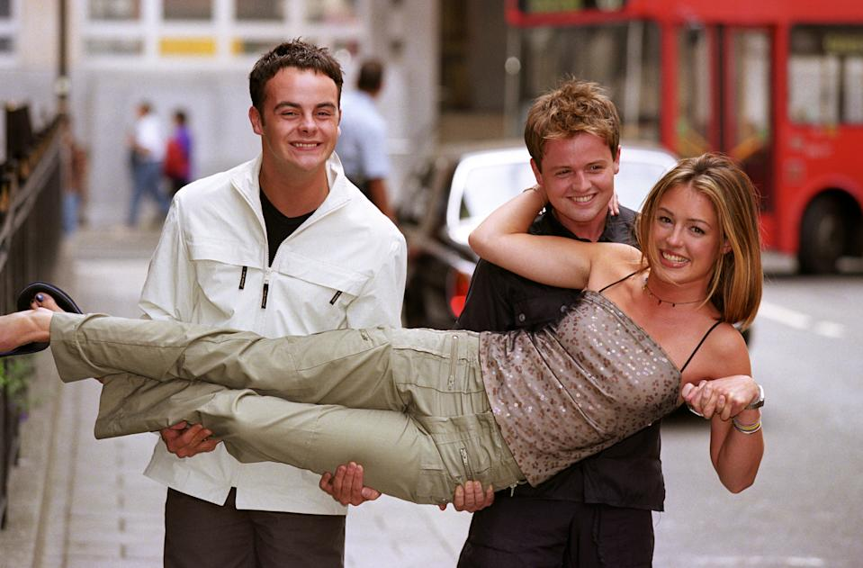 Anthony McPartlin (left) and Declan Donnelly meet Cat Deeley,  co-presenter of a new Saturday morning TV series launched. SMTV://LIVE, starting on ITV Saturday 29th August, will feature music, cartoons and sketches.   (Photo by Peter Jordan - PA Images/PA Images via Getty Images)