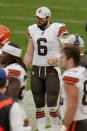 Cleveland Browns quarterback Baker Mayfield (6) walks the sideline during the second half after being taken out of an NFL football game against the Pittsburgh Steelers, Sunday, Oct. 18, 2020, in Pittsburgh. (AP Photo/Gene J. Puskar)