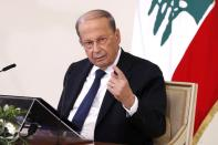 Lebanon's President Michel Aoun speaks during a news conference at the presidential palace in Baabda