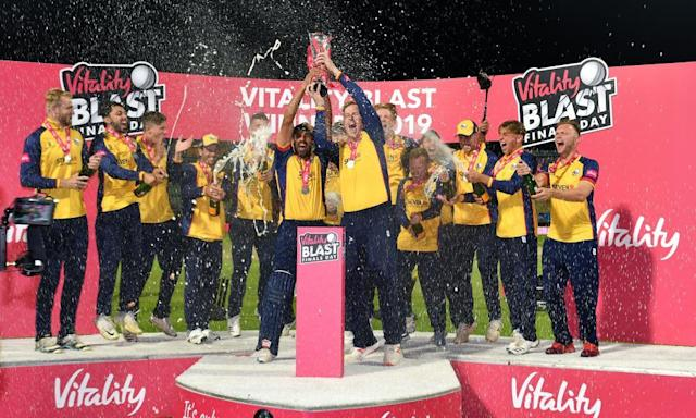 "<span class=""element-image__caption"">Essex Eagles celebrate winning last year's T20 Blast, a competition that generates significant income for counties.</span> <span class=""element-image__credit"">Photograph: Anthony Devlin/PA</span>"