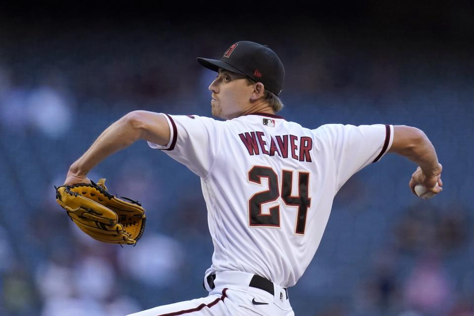 Arizona Diamondbacks starting pitcher Luke Weaver throws a pitch against the Miami Marlins during the first inning of a baseball game Monday, May 10, 2021, in Phoenix. (AP Photo/Ross D. Franklin)