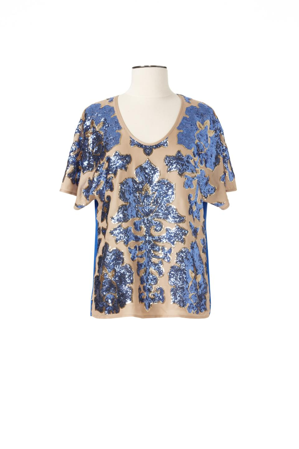 <b>Tracy Reese for Target + Neiman Marcus Blouse</b><br><br> Price: $79.99<br><br> Sizes: XS-XXL<br><br> Tracy Reese made a stylish blouse with sequins on the front and silk on the back. <br><br>