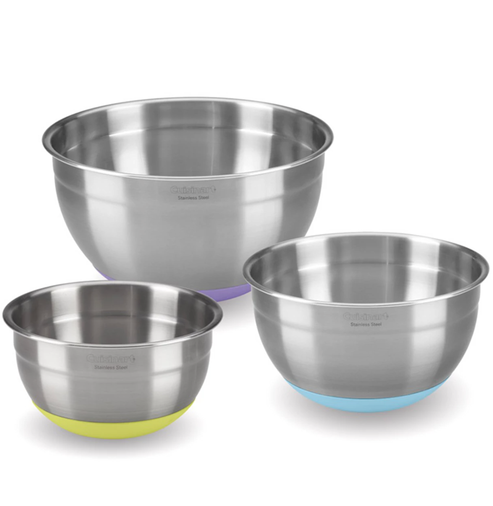 """If you need to vigorously mix something, the intensity from your hand-held mixer can push your bowl around the counter and creates a mess—especially if you have slick countertops. Mixing bowls with non-slip bases help solve that problem. <a href=""""https://www.instagram.com/micahwoolley/"""" rel=""""nofollow noopener"""" target=""""_blank"""" data-ylk=""""slk:Chef Micah Woolley"""" class=""""link rapid-noclick-resp"""">Chef Micah Woolley</a>, who works by request out of Marina del Rey and Newport, California, for yacht charter businesses, says his favorite mixing bowls are Cuisinart's durable stainless-steel set with non-slip bases. For a chef who works in a kitchen that sways, the non-slip feature is imperative. You don't need to be cooking in the middle of the ocean to appreciate these bowls though: The nesting set (which includes 1.5-, 3-, and 5-quart bowls) is easy to store and dishwasher- and freezer-safe. $64, Macy's. <a href=""""https://www.macys.com/shop/product/cuisinart-stainless-steel-mixing-bowls-with-non-slip-bases-set-of-3?ID=12162796"""" rel=""""nofollow noopener"""" target=""""_blank"""" data-ylk=""""slk:Get it now!"""" class=""""link rapid-noclick-resp"""">Get it now!</a>"""