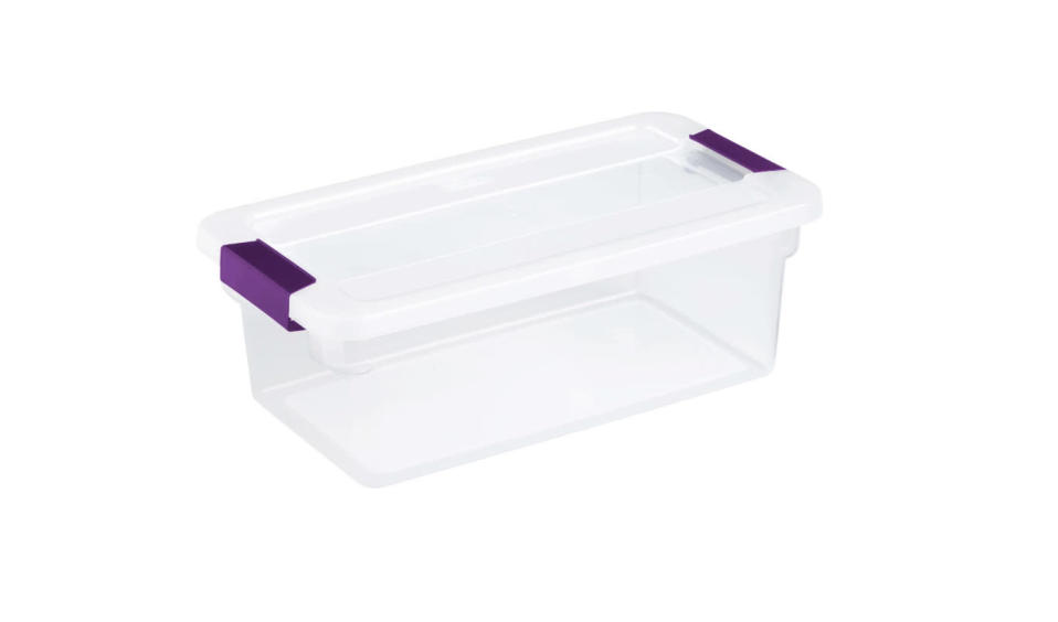 Medium plastic bins help to minimize clutter when it comes to bathroom storage. (Photo: Target)