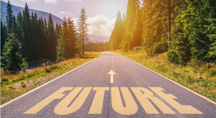 """""""FUTURE"""" written on a rural road"""