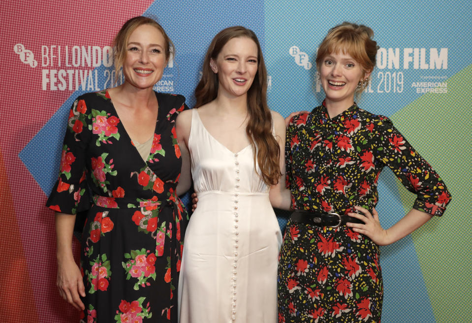 """Jennifer Ehle, Morfydd Clark and director Rose Glass attend the """"Saint Maud"""" European Premiere during the 63rd BFI London Film Festival on October 05, 2019. (Photo by John Phillips/Getty Images for BFI)"""
