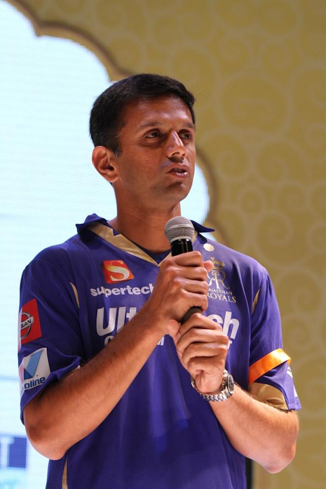 Rajasthan Royals' skipper Rahul Dravid talking about the team at the Rajasthan Royals-Provogue Fanwear Launch at Hotel Marriott in Jaipur on Monday