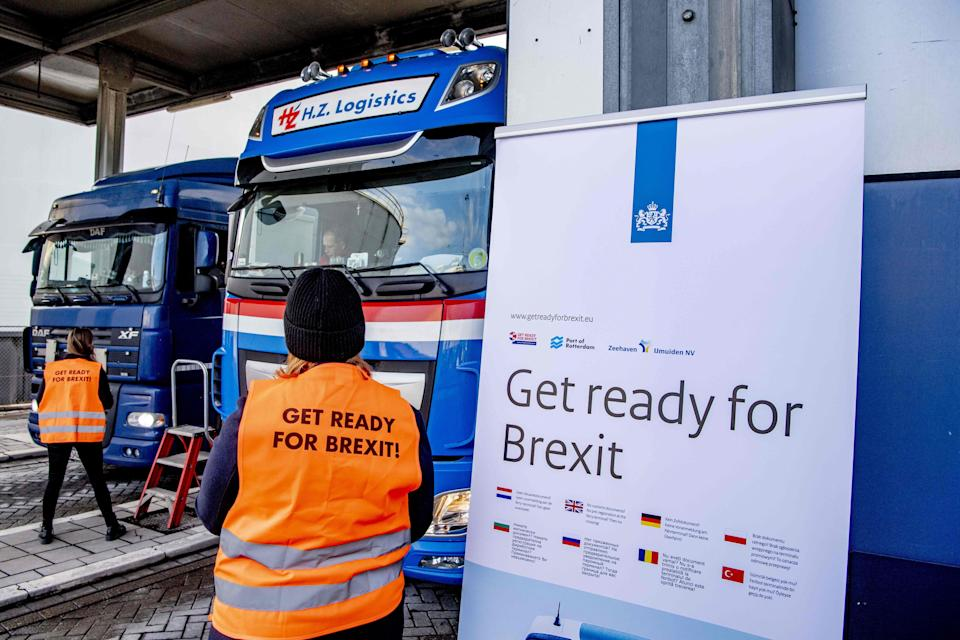 Flyers are distributed in Rotterdam, as part of the Get Ready For Brexit campaign (Robin Utrecht/ANP/AFP via Getty Images)