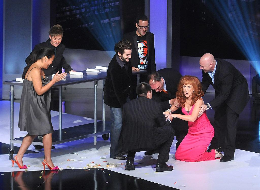 """Kathy Griffin hosts Bravo's first annual A-List Awards from the Hammerstein Ballroom in NYC. The """"My Life on the D-List"""" funny lady proves she is willing to do anything for a laugh while taking part in a skit with former """"Top Chef"""" contestants. Jamie McCarthy/<a href=""""http://www.wireimage.com"""" target=""""new"""">WireImage.com</a> - June 4, 2008"""