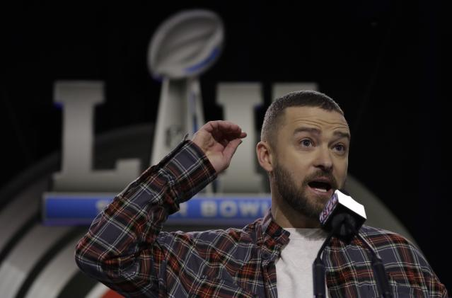 Justin Timberlake answers questions during a news conference for the NFL Super Bowl 52 football game halftime show on Thursday. (AP)