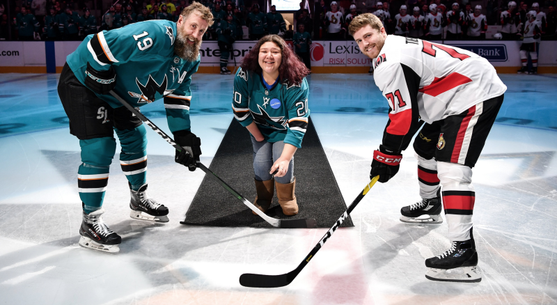 Selena Urban lived out her Make-A-Wish dream with help from the San Jose Sharks. (Twitter // @SanJose Sharks)