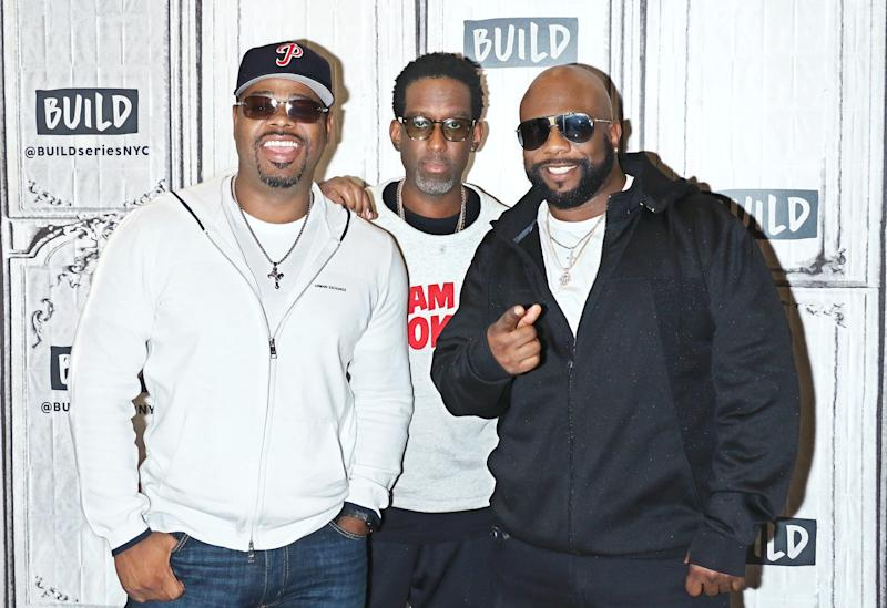 Nathan Morris, Shawn Stockman and Wanya Morris of Boyz II Men attend Build Series on Oct. 19, 2017, in New York. (Jim Spellman via Getty Images)