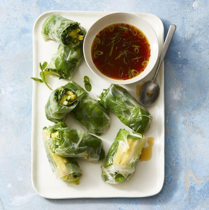 """<p>Get the whole family involved in rolling these vegan finger foods. They make for the perfect light dinner, complete with a sweet and spicy dipping sauce.</p><p><em><a href=""""https://www.goodhousekeeping.com/food-recipes/healthy/a32094584/summer-rolls-recipe/"""" rel=""""nofollow noopener"""" target=""""_blank"""" data-ylk=""""slk:Get the recipe for Summer Rolls »"""" class=""""link rapid-noclick-resp"""">Get the recipe for Summer Rolls »</a></em></p>"""