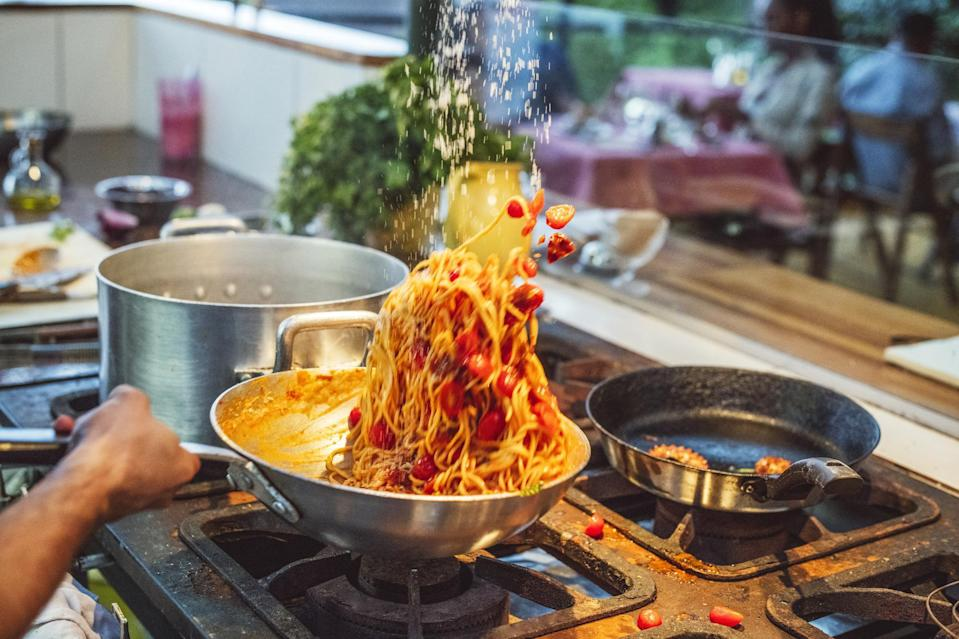 <p>Once you've finished the pasta in the sauce, add a little bit of the pasta water back into the pan, along with a knob of butter. Shake up the pan a bit and you'll end up with a gloriously saucy, emulsified and perfectly delicious plate of pasta.</p>
