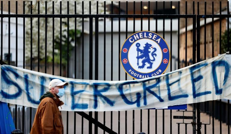 Chelsea fans staged an angry protest against the European Super League outside Stamford Bridge on Tuesday