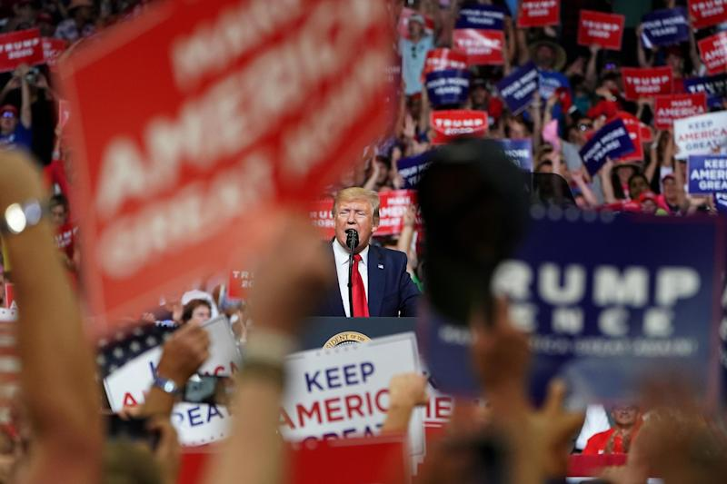 Trump speaks at the campaign kick-off rally at the Amway Center in Orlando (REUTERS)