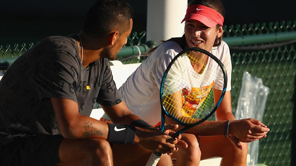 Nick Kyrgios and Ajla Tomljanovic, pictured here at Indian Wells in 2017.