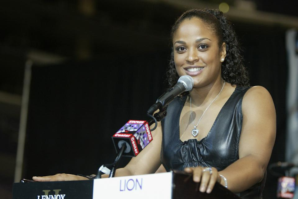 LOS ANGELES - JUNE 18:  Laila Ali speaks at press conference to promote her upcoming super middleweight bout with Valerie Mahfood at Staples Center on June 18, 2003 in Los Angeles, California.  Lennox Lewis won by a TKO in the 6th round.  (Photo by Jeff Gross/Getty Images)