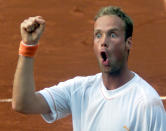 FILE - In this June 3, 2003, file photo, Netherlands' Martin Verkerk reacts as he faces Spain's Carlos Moya in a quarterfinal match of the French Open tennis tournament at Roland Garros stadium in Paris. Verkerk won 6-3, 6-4, 5-7, 4-6. (AP Photo/Lionel Cironneau, File)