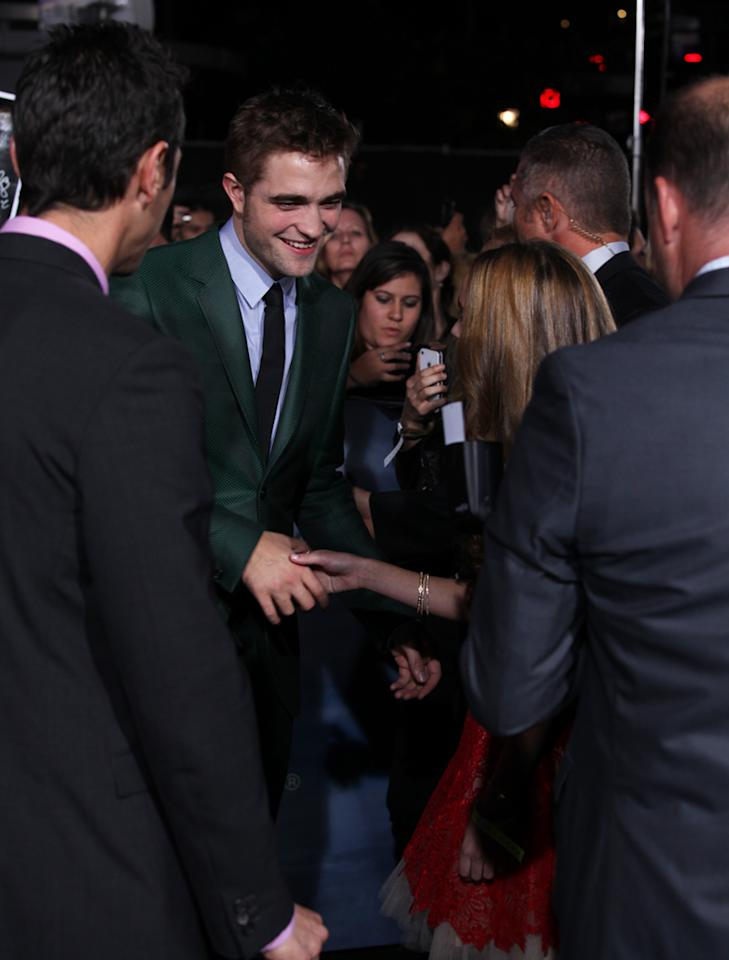 "Robert Pattinson greets fans at ""The Twilight Saga: Breaking Dawn - Part 2"" Los Angeles premiere at the Nokia Theatre L.A. Live on November 12, 2012 in Los Angeles, California."