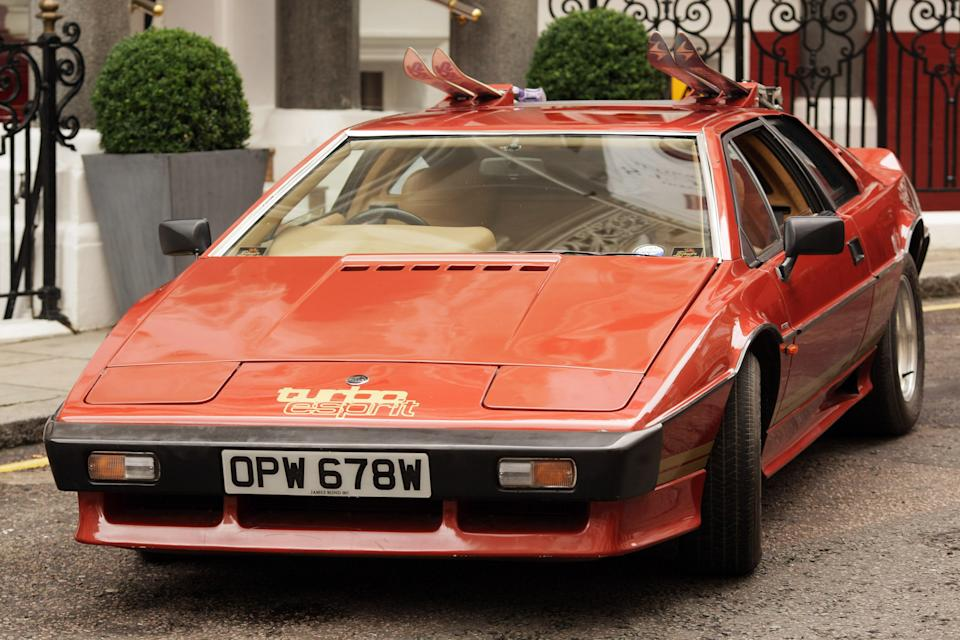 """LONDON, ENGLAND - JULY 08:  A Lotus Turbo Esprit car from the 1981 James Bond film """"For Your Eyes Only"""" is displayed for sale on July 8, 2009 in London. An auction of collectors items including The 007 Collection will be offered for sale at Coys 2009 at Blenheim Palace on July 18, 2009. The car is expected to fetch GPB90,000 - GPB100,000. (Photo by Peter Macdiarmid/Getty Images)"""