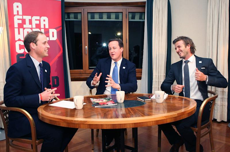 "President of the Football Association, Britain's Prince William, left, with Britain's Prime Minister David Cameron and England 2018 Vice President, soccer player David Beckham,  during a meeting to discuss the upcoming 2018 World Cup bid winners announcement on Thursday, at the Steigenberger Hotel in Zurich, Switzerland, Tuesday Nov. 30, 2010. David Beckham says England is in a strong position to win its bid to host the 2018 World Cup. The former England captain says ""we are confident but not over confident"" ahead of the FIFA vote on Thursday. Beckham headed to Zurich to lobby for England's bid on Tuesday. (AP Photo/Matthew Childs, Pool)"