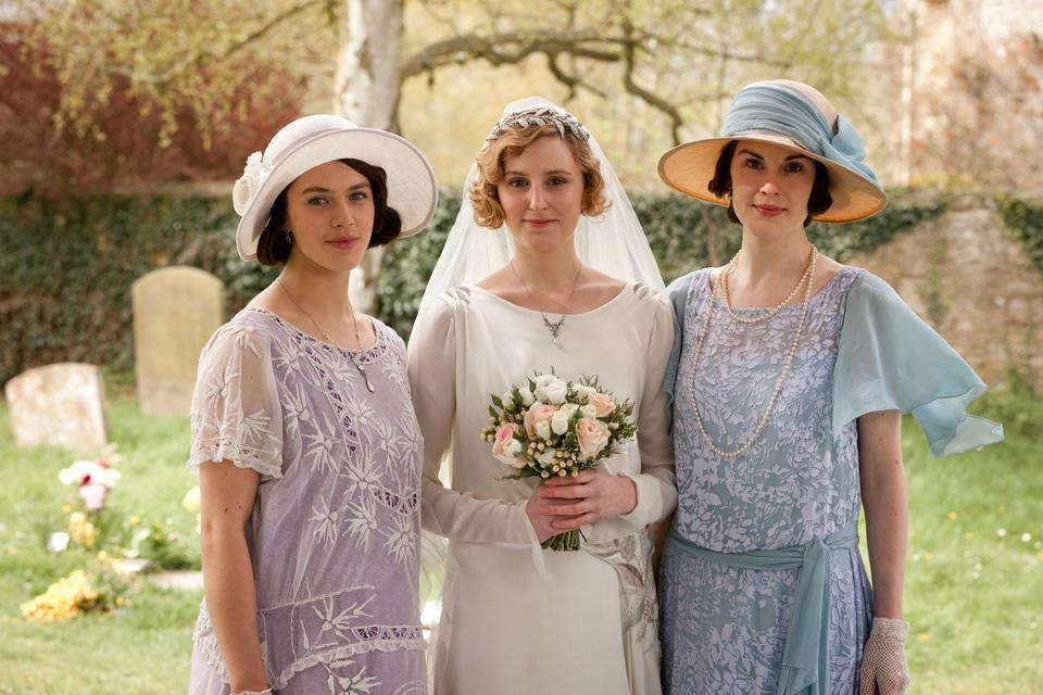 Jessica Brown Findlay as Lady Sybil, Laura Carmichael as Lady Edith, and Michelle Dockery as Lady Mary. (Photo: Carnival Films & Masterpiece)