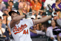 American League's Trey Mancini, of the Baltimore Orioles, hits during the first round of the MLB All Star baseball Home Run Derby, Monday, July 12, 2021, in Denver. (AP Photo/Gabriel Christus)