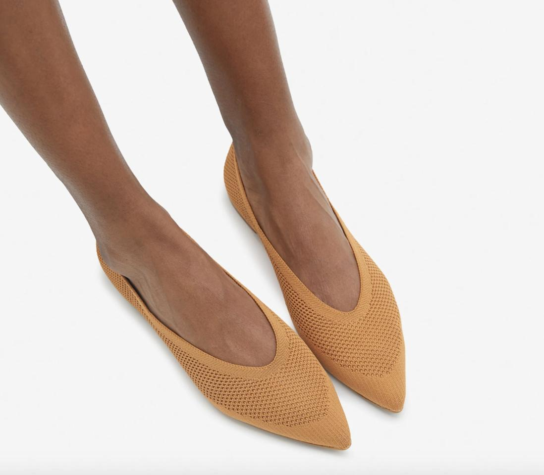 """<p>These versatile and flexible <a href=""""https://www.popsugar.com/buy/Everlane-40-Hour-Flats-ReKnit-582339?p_name=Everlane%2040-Hour%20Flats%20in%20ReKnit&retailer=everlane.com&pid=582339&price=98&evar1=fab%3Aus&evar9=23444878&evar98=https%3A%2F%2Fwww.popsugar.com%2Fphoto-gallery%2F23444878%2Fimage%2F44701620%2FEverlane-40-Hour-Flats-ReKnit&list1=shopping%2Cshoes%2Cget%20the%20look%2Cstyle%20how-to%2Ceverlane%2Cfashion%20shopping&prop13=api&pdata=1"""" rel=""""nofollow"""" data-shoppable-link=""""1"""" target=""""_blank"""" class=""""ga-track"""" data-ga-category=""""Related"""" data-ga-label=""""https://www.everlane.com/products/womens-40-hour-flat-reknit-toffee?collection=womens-shoes"""" data-ga-action=""""In-Line Links"""">Everlane 40-Hour Flats in ReKnit</a> ($98) are perfect for long days.</p>"""