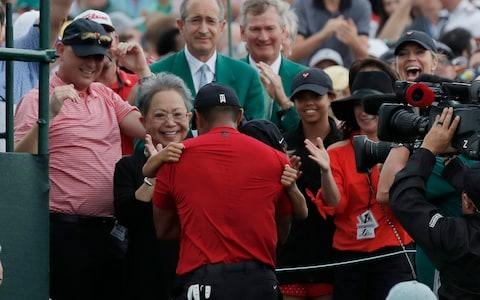 <span>Woods celebrates with his children, mother&nbsp;Kultida and partner Erica</span> <span>Credit: Reuters </span>
