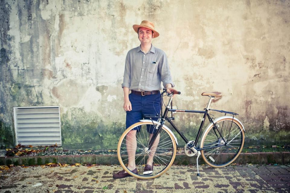 """<div class=""""caption-credit""""> Photo by: charlestoncyclechic.com</div>While we are obsessed with chic girls on cool bikes, natty boys with vintage bikes are cute, too."""