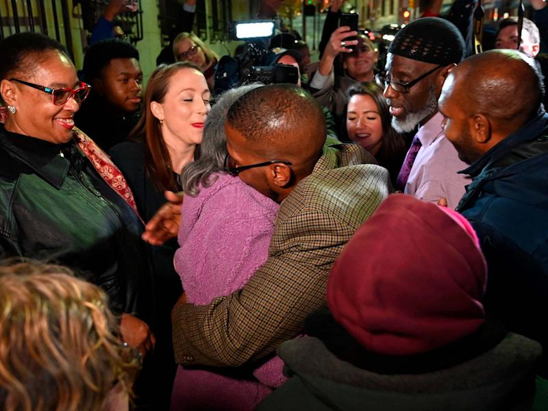 Alfred Chestnut hugs his mother Sarah after his release from prison in Baltimore, Maryland, US, on 25 November 2019 after serving 36 years for a murder he did not commit: Jerry Jackson/The Baltimore Sun via AP