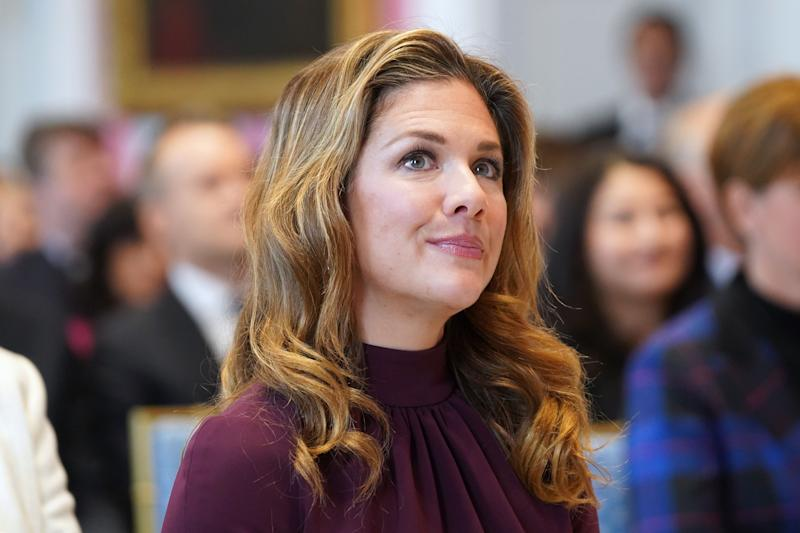 Sophie Gregoire Trudeau, wife of Canadian Prime Minister Justin Trudeau, attends a cabinet swearing-in ceremony at Rideau Hall on November 20, 2019 in Ottawa, Canada. - Trudeau unveiled an inward-looking cabinet Wednesday. The prime minister expanded his cabinet to a slightly larger 36 members after the Liberals lost 20 seats on October 21, reducing a once-mighty juggernaut to a minority government. (Photo by Chris Wattie / AFP) (Photo by CHRIS WATTIE/AFP via Getty Images)