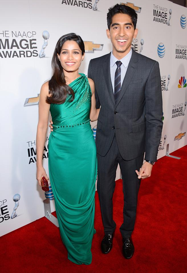 LOS ANGELES, CA - FEBRUARY 01:  Actors Freida Pinto (L) and Dev Patel attend the 44th NAACP Image Awards at The Shrine Auditorium on February 1, 2013 in Los Angeles, California.  (Photo by Mark Davis/Getty Images for NAACP Image Awards)