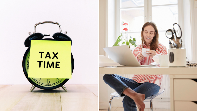 """Tax time is around the corner. An alarm clock with a post-it note on top that reads """"tax time"""". A woman looking at receipts in her home office. Source: Getty"""