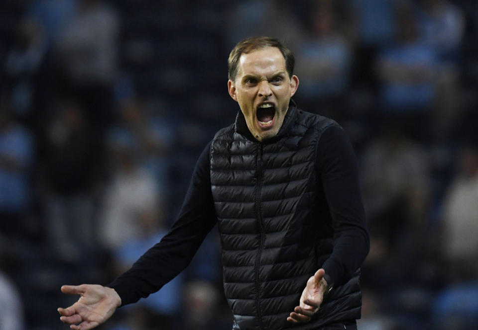 Soccer Football - Champions League Final - Manchester City v Chelsea - Estadio do Dragao, Porto, Portugal - May 29, 2021 Chelsea manager Thomas Tuchel reacts Pool via REUTERS/Pierre-Philippe Marcou