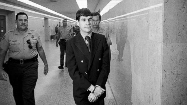 PHOTO: Charles Tex Watson, center, is led back to jail from a courtroom after he was convicted of seven counts of first degree murder and one of conspiracy to commit murder in the Tate-LaBianca slayings, Oct. 12, 1971, Los Angeles, Calif.  (George Brich/AP Photo)