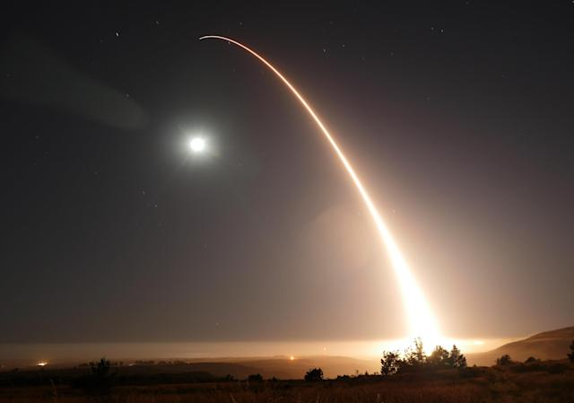 An unarmed Minuteman 3 intercontinental ballistic missile launches during an operational test just after midnight, May 3, 2017, at Vandenberg Air Force Base, Calif. (Photo: William Collette/U.S. Air Force via AP)