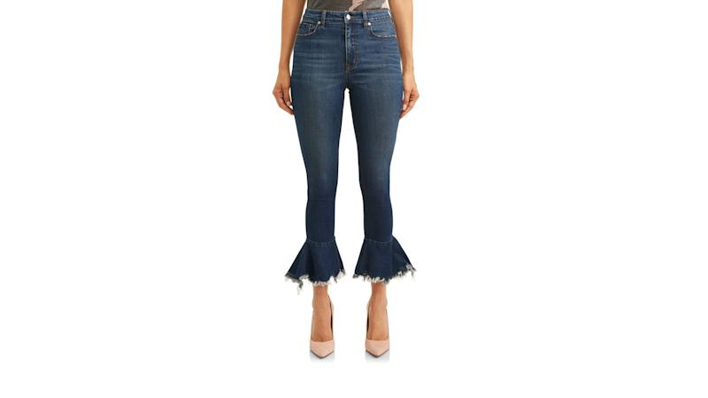 Camila Destructed Hem Cropped Kick Flare Jean. (Photo: Walmart)