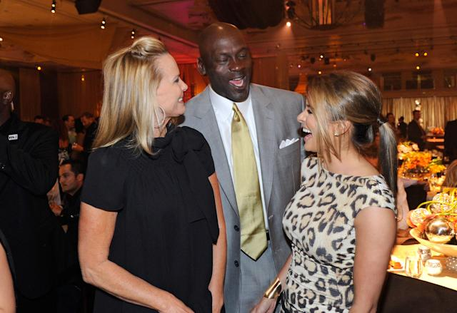 LAS VEGAS, NV - MARCH 30: (L-R) Janet Jones-Gretzky, Charlotte Bobcats owner Michael Jordan and model Yvette Prieto attend the 11th annual Michael Jordan Celebrity Invitational gala at the Aria Resort & Casino at CityCenter March 30, 2011 in Las Vegas, Nevada. (Photo by Ethan Miller/Getty Images for MJCI)