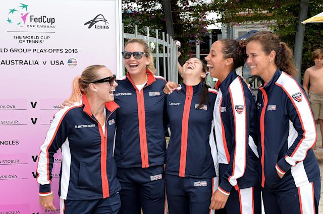BRISBANE, AUSTRALIA - APRIL 15: (L-R) Bethanie Mattek-Sands, Coco Vandeweghe, Christina McHale, Madison Keys and Mary Joe Fernandez share a laugh during the official draw for the Fed Cup tie between Australia and the United State at Pat Rafter Arena on April 15, 2016 in Brisbane, Australia. (Photo by Bradley Kanaris/Getty Images)