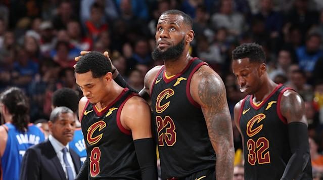 "<p>The Cleveland Cavaliers (34-22) are clearly not where they want to be at this point of the season, sitting behind the Toronto Raptors (41-16) and Boston Celtics (40-19) in the Eastern Conference standings. But heading into the <a href=""https://www.oddsshark.com/nba/nba-all-star-game-betting-preview"" rel=""nofollow noopener"" target=""_blank"" data-ylk=""slk:NBA All-Star break"" class=""link rapid-noclick-resp"">NBA All-Star break</a>, the Cavaliers are still the top title contender in the East at +600 (bet $100 to win $600) on the <a href=""https://www.oddsshark.com/nba/nba-futures"" rel=""nofollow noopener"" target=""_blank"" data-ylk=""slk:odds to win the NBA championship"" class=""link rapid-noclick-resp"">odds to win the NBA championship</a> at sportsbooks monitored by OddsShark.com.</p><p>Cleveland made a number of changes prior to the trade deadline in an effort to make a run at the franchise's second championship in three years, replacing former All-Stars Isaiah Thomas, Dwyane Wade and Derrick Rose with hungrier players who fit better, bringing in George Hill, Jordan Clarkson, Larry Nance Jr. and Rodney Hood.</p><p>If this is truly the last year for LeBron James with the Cavaliers, they made a serious effort to improve and will take a four-game winning streak into the last two months of the regular season.</p><p>The Raptors have won seven straight though, and appear headed toward a franchise-best record along with the No. 1 seed in the East if they can hold off the Celtics in the Atlantic Division. Toronto might have the most value on the betting board at +2200 to win its first-ever NBA title after opening at +5000. Boston is the +1200 fourth choice to win it all behind Cleveland and a couple Western Conference teams listed at the top.</p><p>The Golden State Warriors (44-14) trail the Houston Rockets (44-13) by a half-game in the Western Conference standings, and they have already lost two of the three regular-season meetings. That means the Rockets would win a tie-breaker for the No. 1 seed, which could be huge if they meet in the Western Conference Finals as expected.</p><p>Houston is riding a 10-game winning streak and has improved to +400 on the <a href=""https://www.oddsshark.com/nba/nba-futures"" rel=""nofollow noopener"" target=""_blank"" data-ylk=""slk:2018 NBA championship odds"" class=""link rapid-noclick-resp"">2018 NBA championship odds</a> from an opener of +700. However, despite some occasional bumps in the road, Golden State is still the team to beat as the -180 favorite (bet $180 to win $100) to repeat as league champion.</p><p>The Rockets and Warriors have only strengthened their position in the West, pushing other contenders in the conference like the Oklahoma City Thunder (33-26) and San Antonio Spurs (35-24) down the betting board. The Thunder have dropped from +1200 to +2000 while the Spurs have fallen from +1600 to +2500.</p>"
