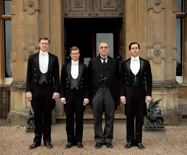 """Matt Milne as Alfred, Ed Speleers as Jimmy, Jim Carter as Mr. Carson, and Rob James-Collier as Thomas in """"Downton Abbey"""" Season 4."""
