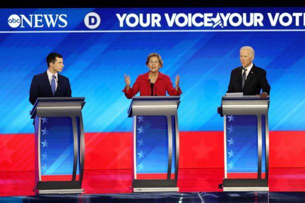 PHOTO: Democratic presidential candidates Pete Buttigieg, Sen. Elizabeth Warren and former Vice President Joe Biden participate in the Democratic presidential primary debate in the Sullivan Arena at St. Anselm College on Feb. 7, 2020 in Manchester, N.H. (Joe Raedle/Getty Images, FILE)