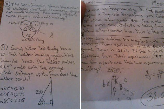 Creepy' geometry homework assignment references serial killer Ted