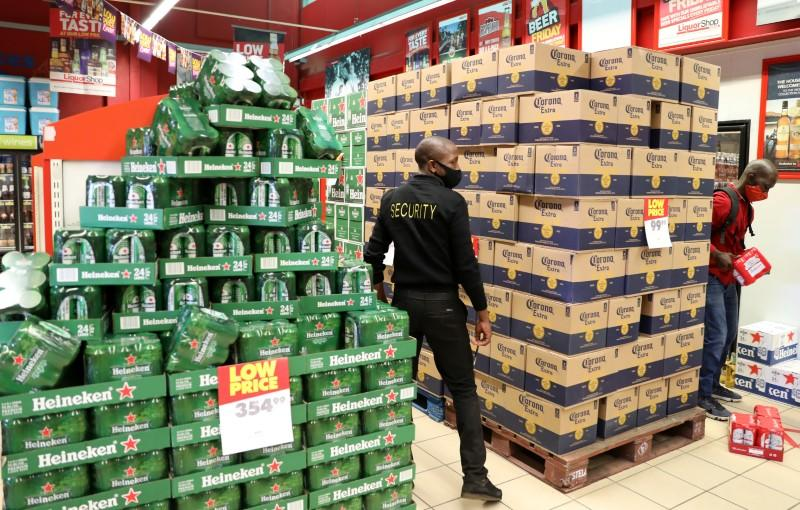 South African shoppers stock up on booze as sales resume