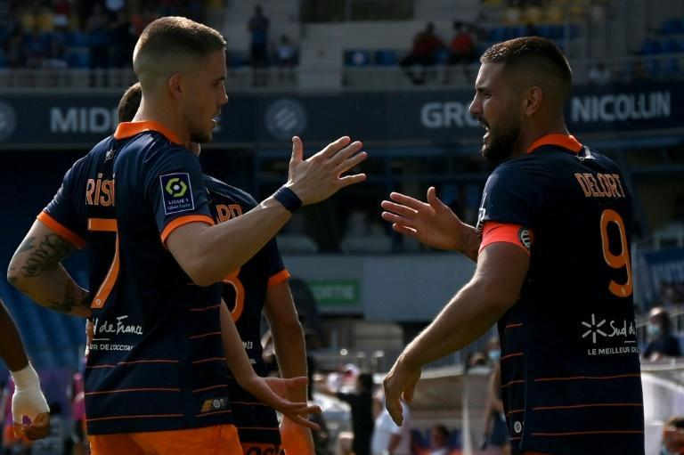 Montpellier's Andy Delort (R) scored 19 goals in 34 games in all competitions last season