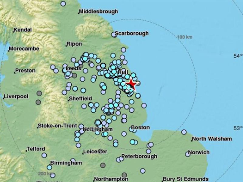 A map showing where the quake was felt by members of the public: EMSC