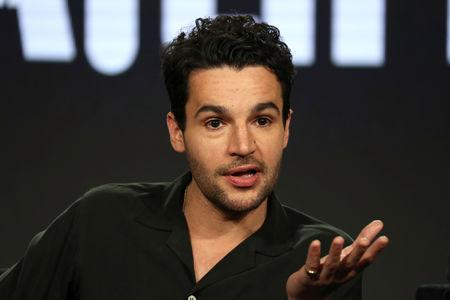 "Actor Christopher Abbott speaks on a panel for the Hulu series ""Catch-22"", during the Television Critics Association (TCA) Winter Press Tour in Pasadena, California, U.S., February 11, 2019.  REUTERS/Lucy Nicholson"