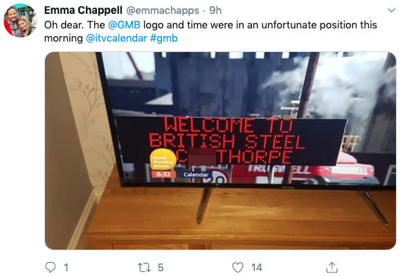 Good Morning Britain's viewers spied the blunder. (TWITTER)